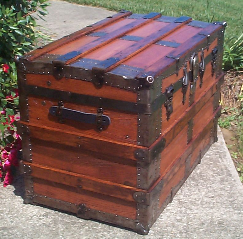 restored all wood flat top antique trunk for sale 833