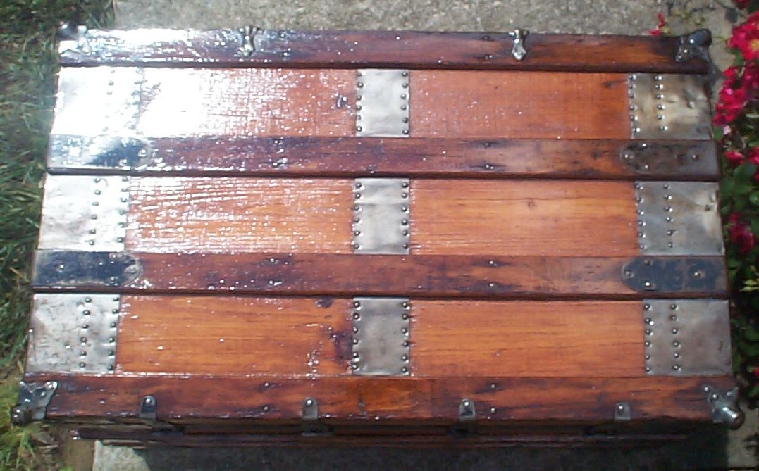 restored wood flat top antique trunk for sale 833