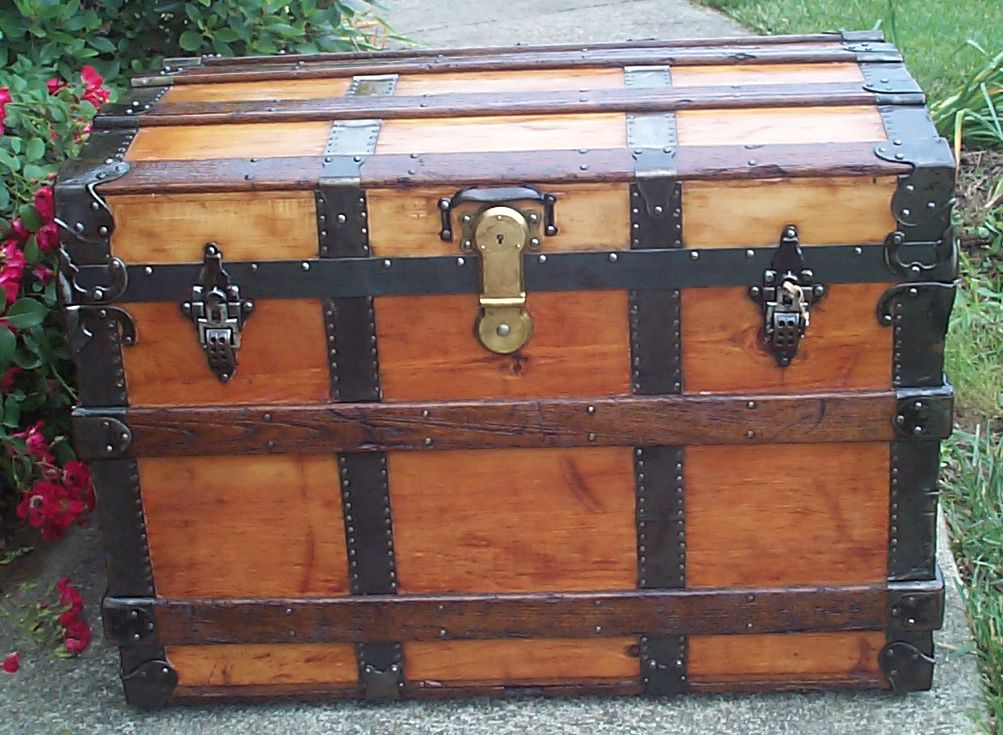 restored all wood roll top antique trunk for sale 835