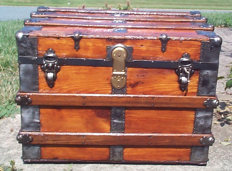 restored all wood flat top antique Steamer trunk for sale 836
