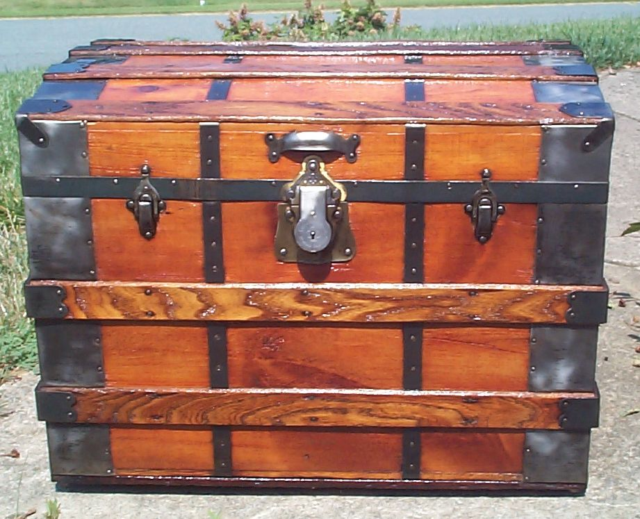 restored all wood roll top antique trunk for sale 837