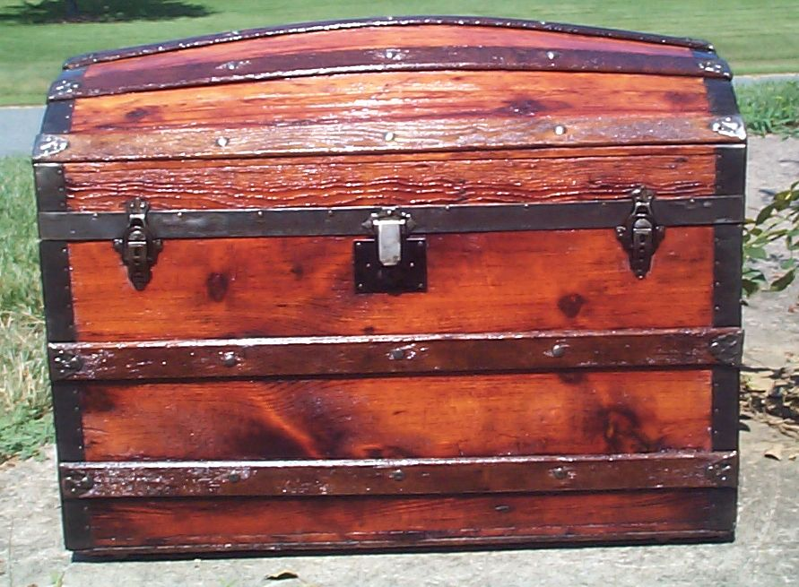 restored all wood humpback dome top antique Steamer trunk for sale 838