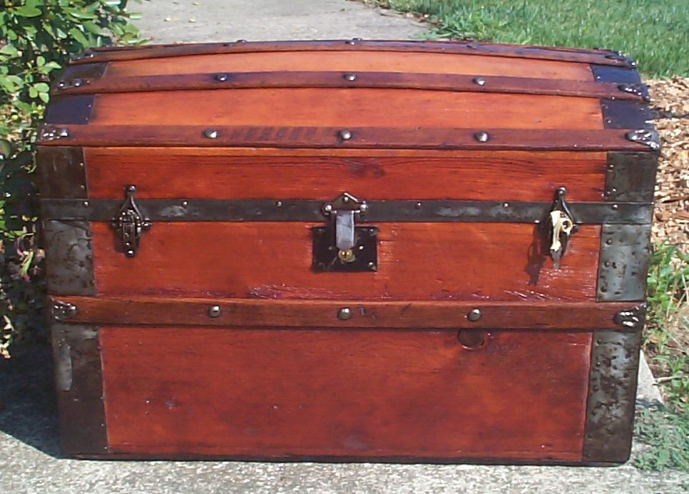 restored all wood humpback dome top antique trunk for sale 839