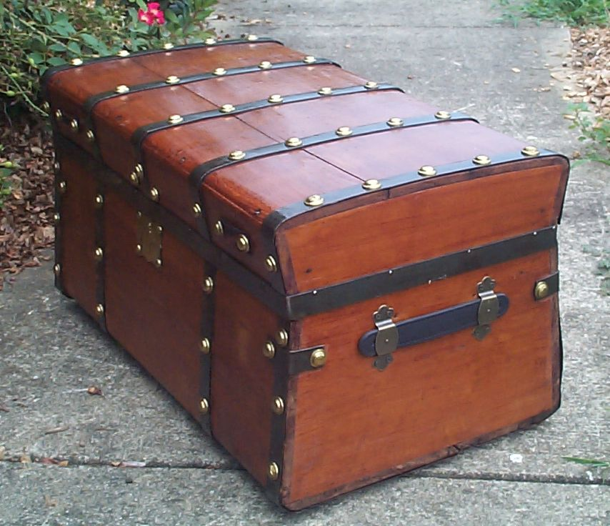 restored all wood jenny lind flat top antique Steamer trunk for sale 840