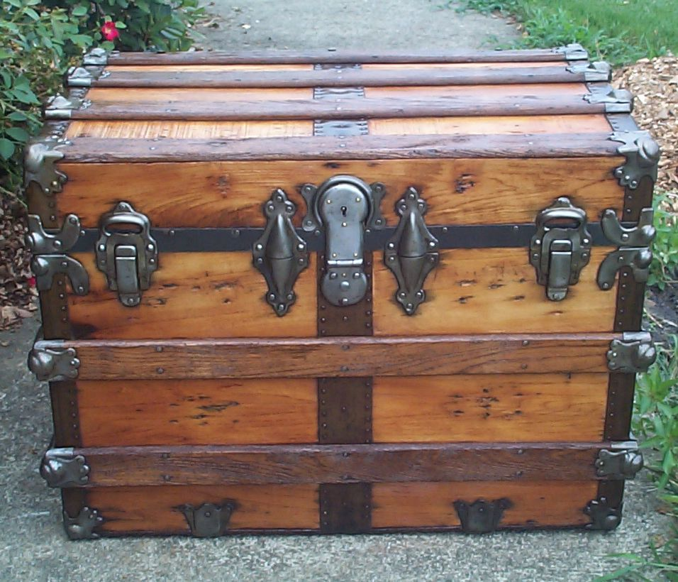 restored all wood flat top antique trunk for sale 841
