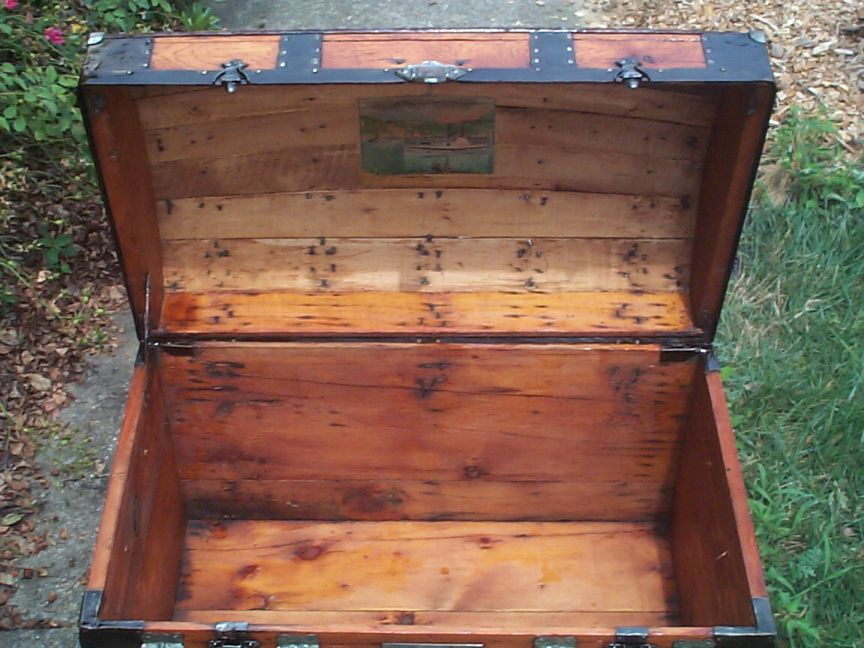 restored wood dome top antique trunk 842