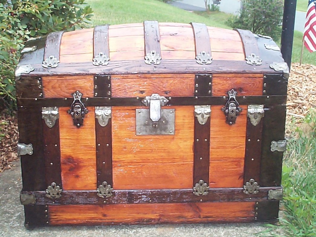 restored all wood dome top antique Steamer trunk for sale 842