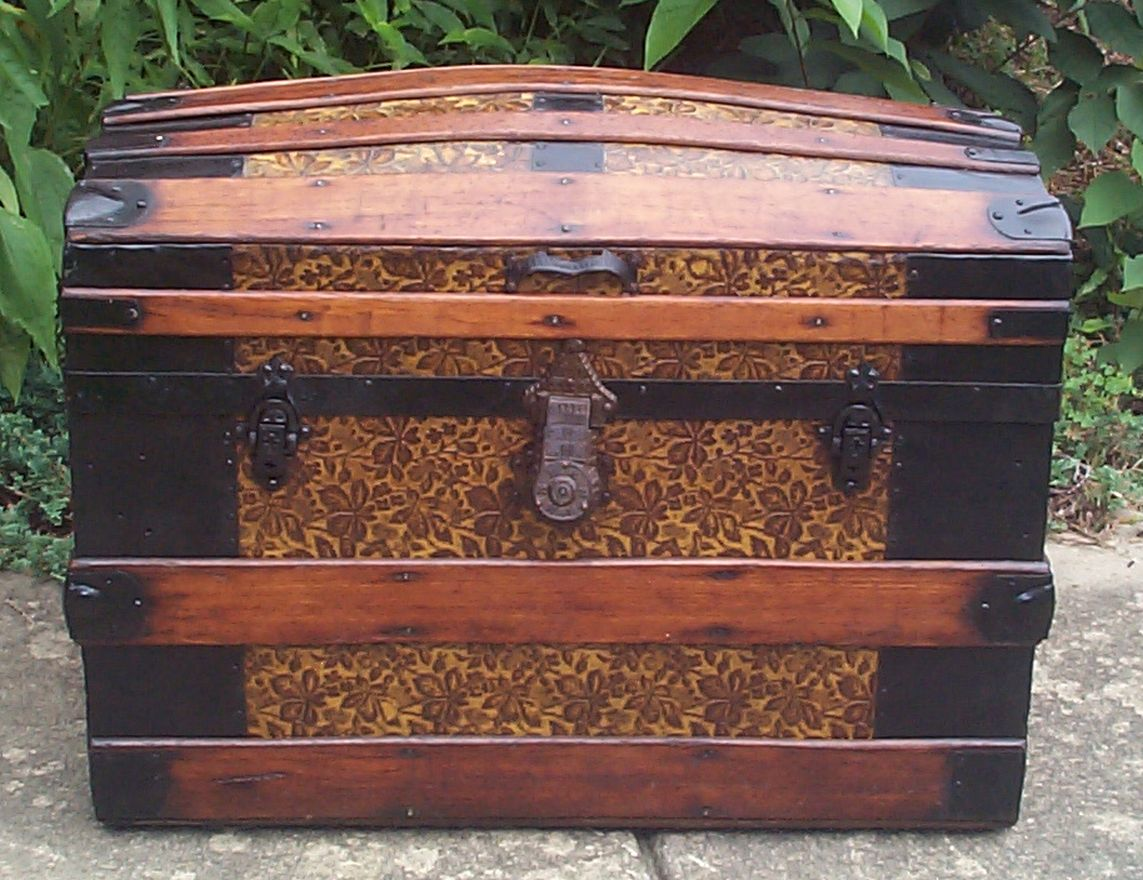 restored all wood dome top antique trunk for sale 843