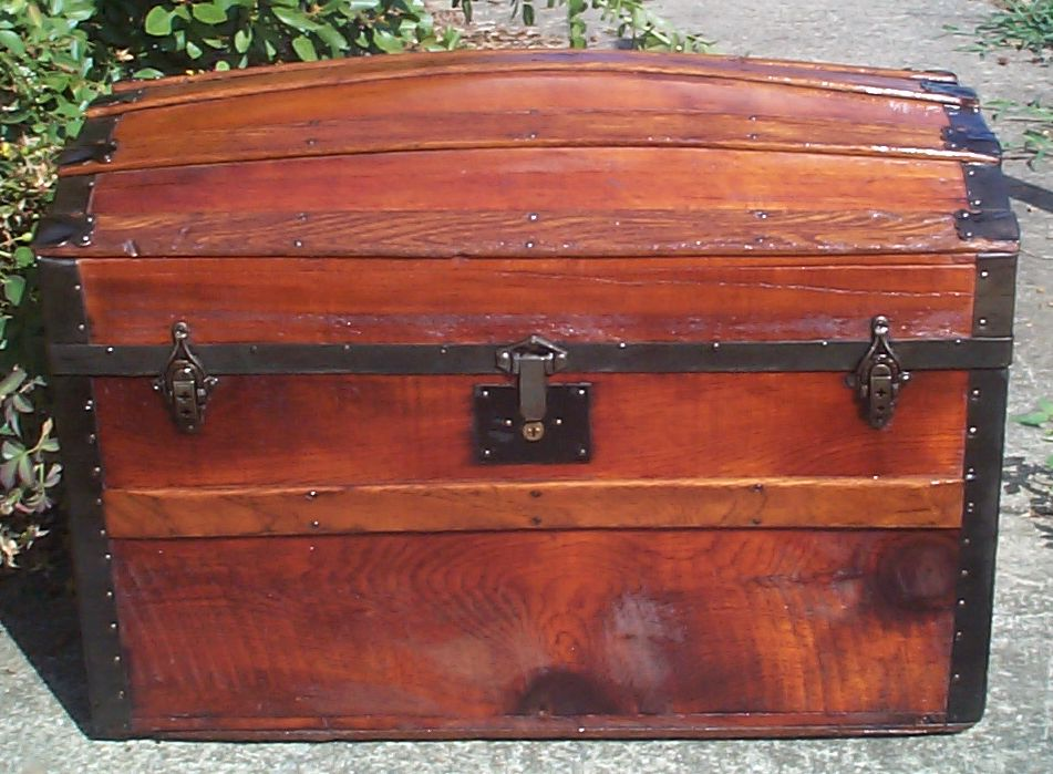 restored all wood dome top antique Steamer trunk for sale 844