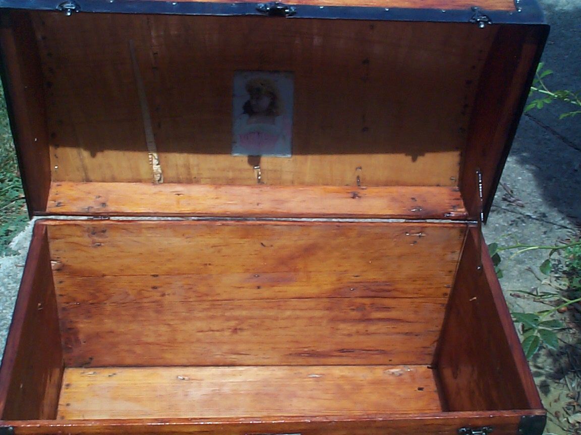 restored wood dome top antique trunk 845