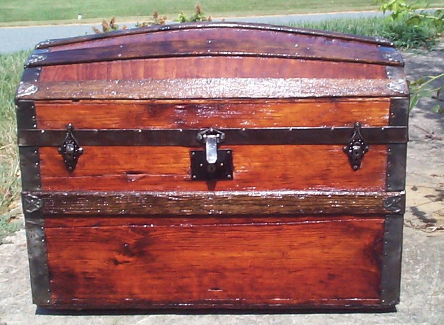 restored all wood dome top antique trunk for sale 845