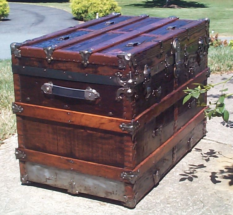 restored wood flat top antique trunk 846