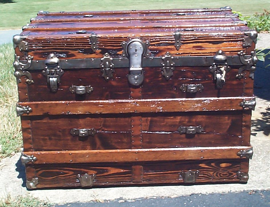 restored all wood flat top antique trunk 846