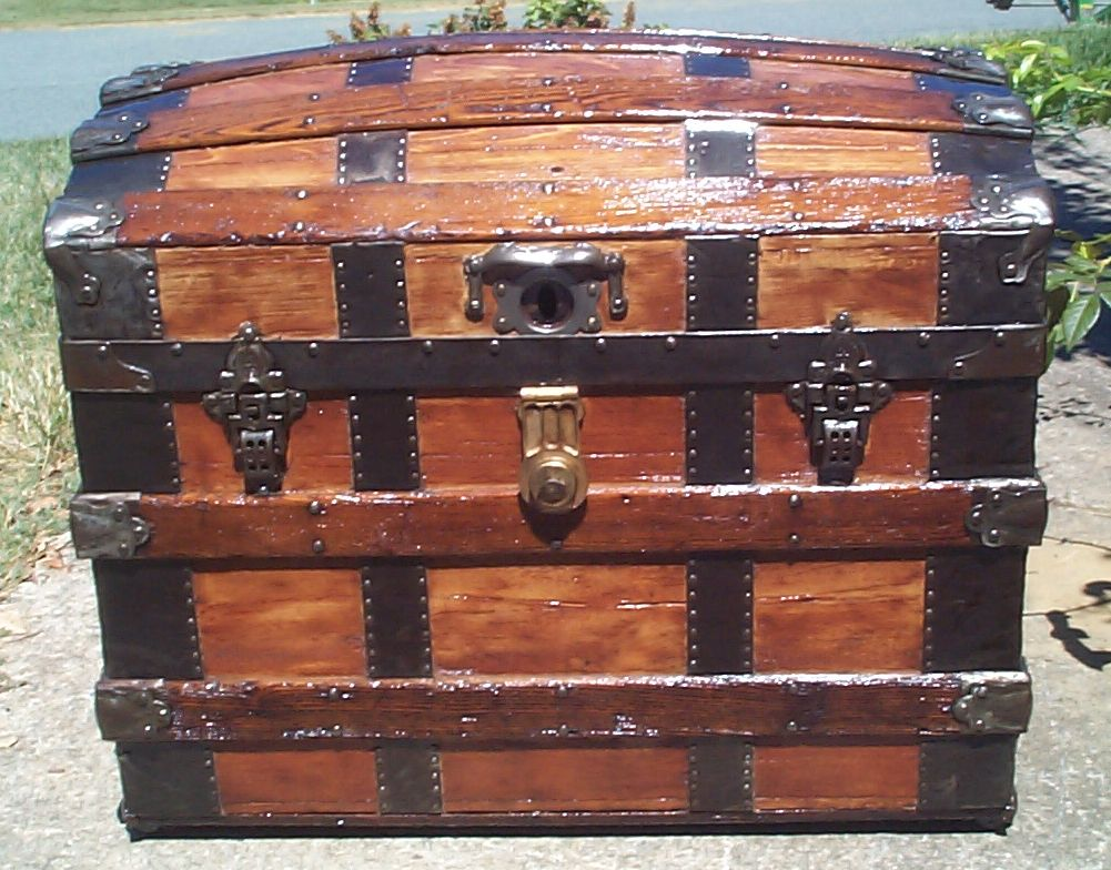 restored all wood dome top antique trunk for sale 847