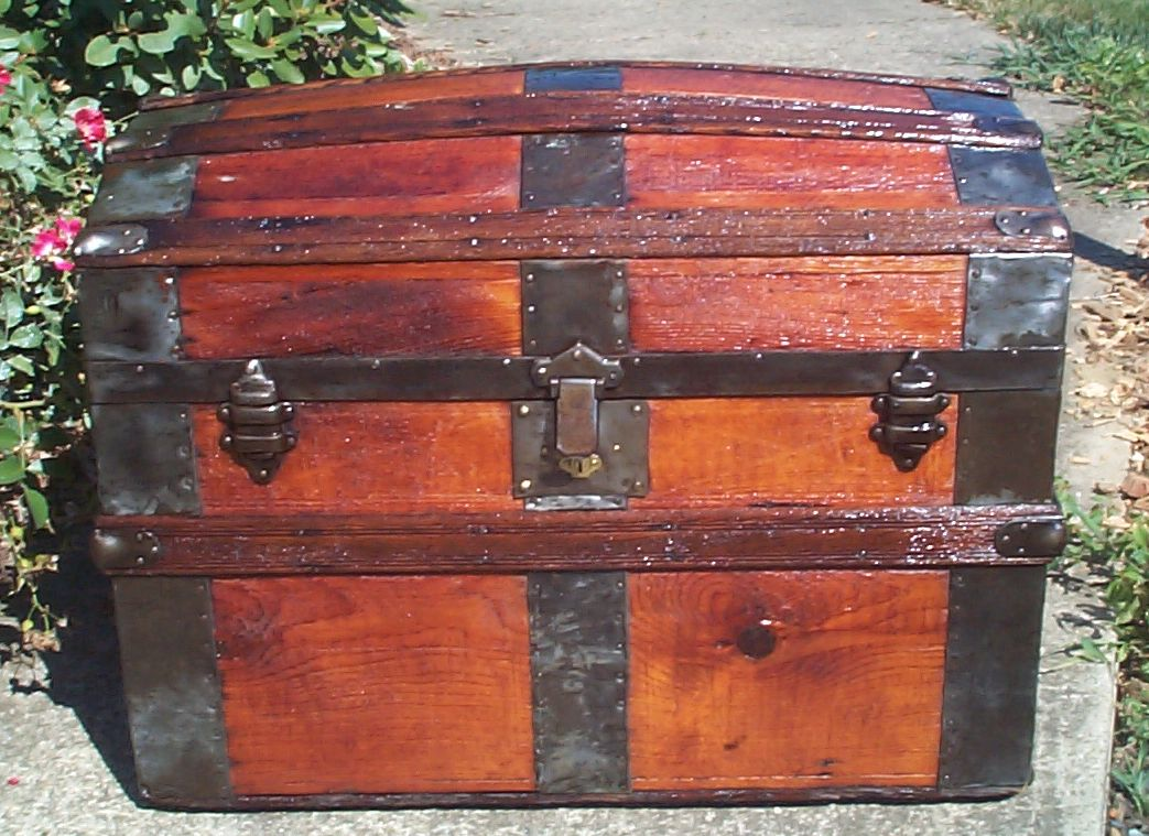 restored all wood dome top antique Steamer trunk for sale 848