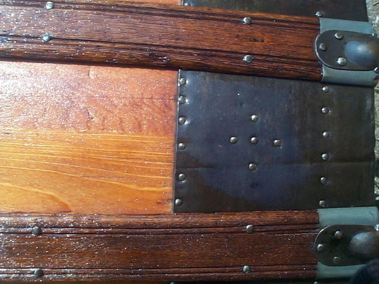restored wood dome top antique trunk 850