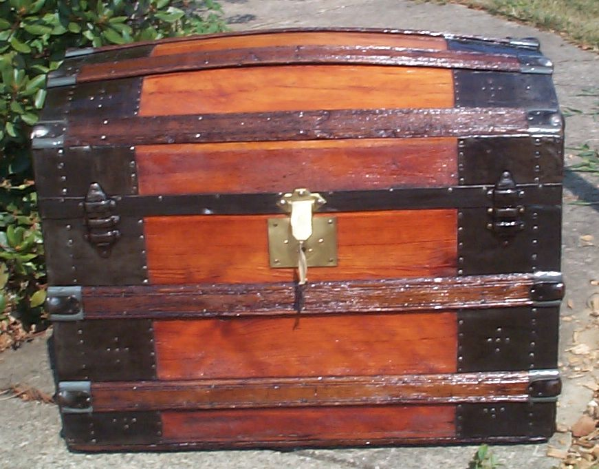 restored all wood dome top antique trunk 850