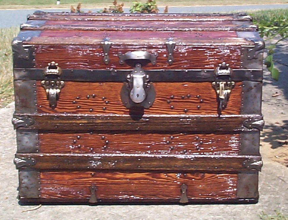 restored all wood roll top antique Steamer trunk for sale 851