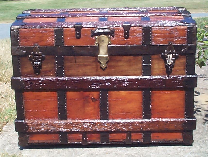 restored all wood roll top antique Steamer trunk for sale 852