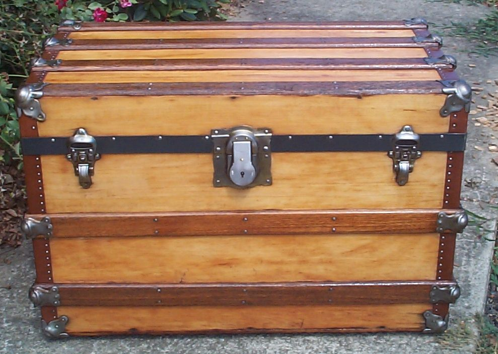restored all wood flat top antique Steamer trunk for sale 854