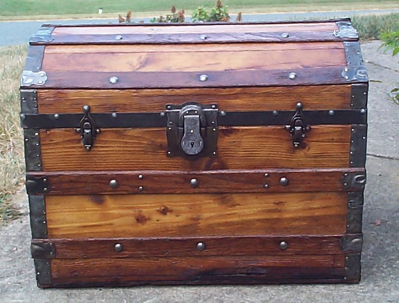 restored all wood dome top antique trunk for sale 856