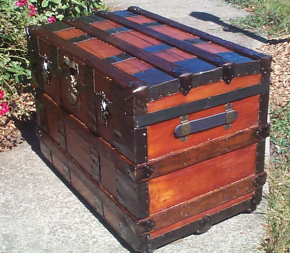 restored wood roll top antique trunk 857