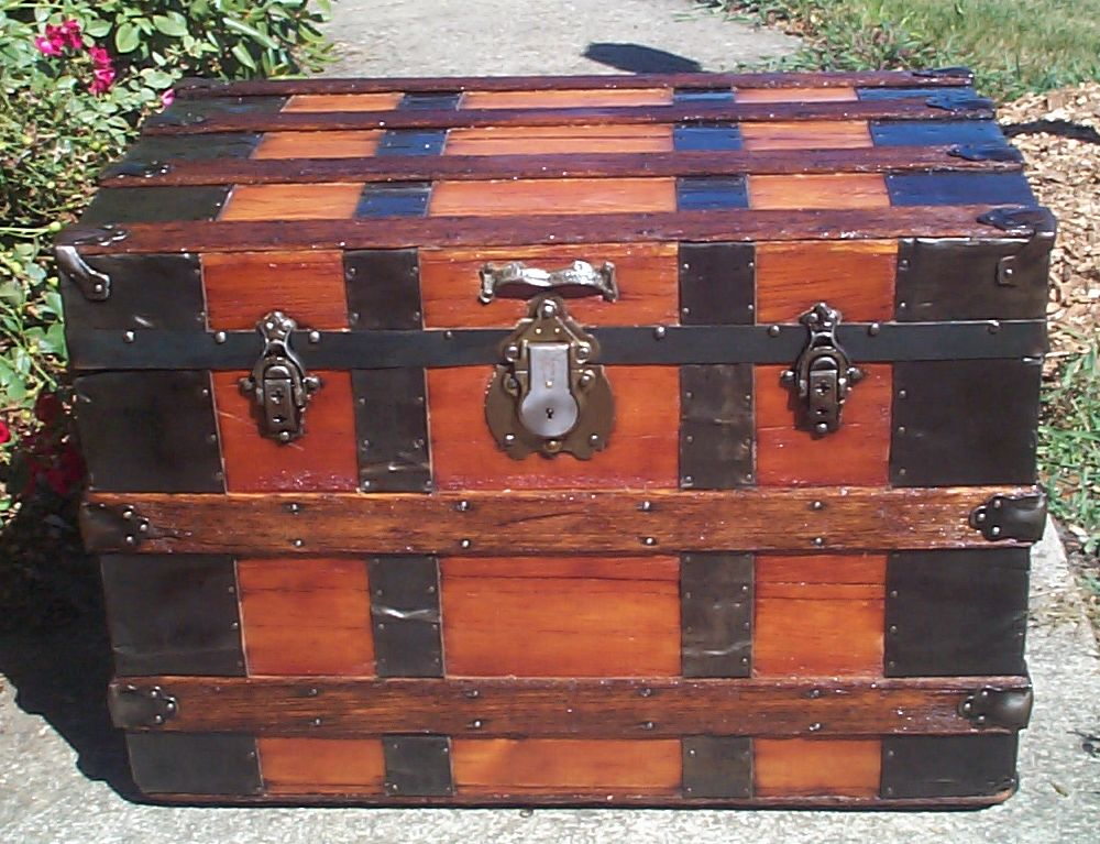 restored all wood roll top antique Steamer trunk for sale 857