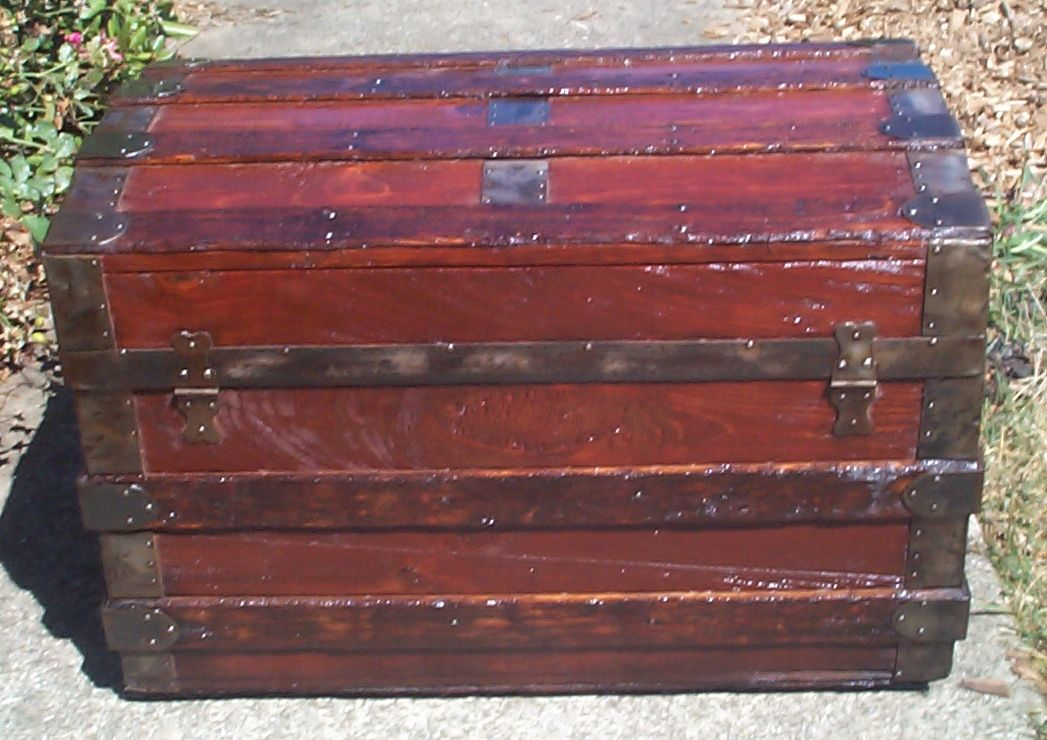 restored wood roll top antique trunk 858
