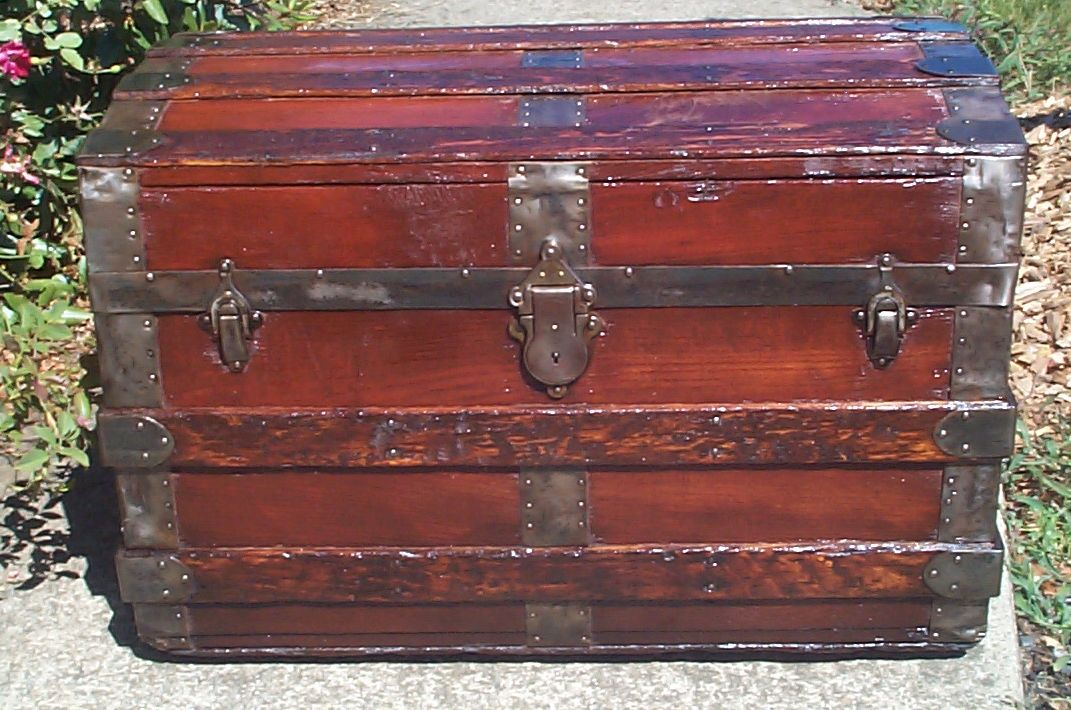 restored all wood roll top antique Steamer trunk for sale 858
