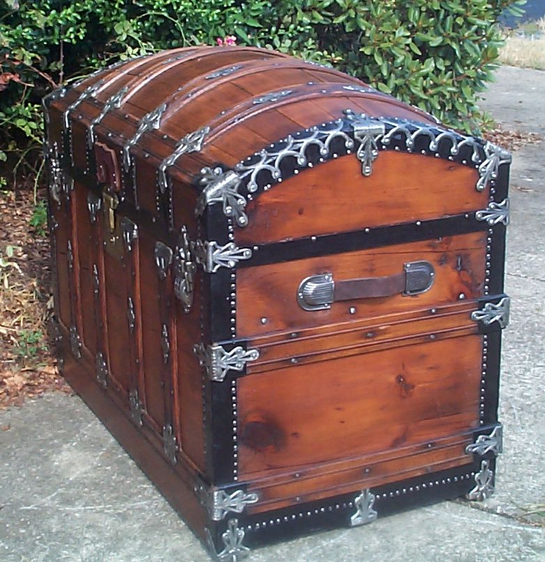 restored wood dome top antique trunk for sale 859