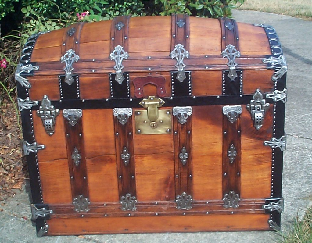 restored all wood dome top antique Steamer trunk for sale 859