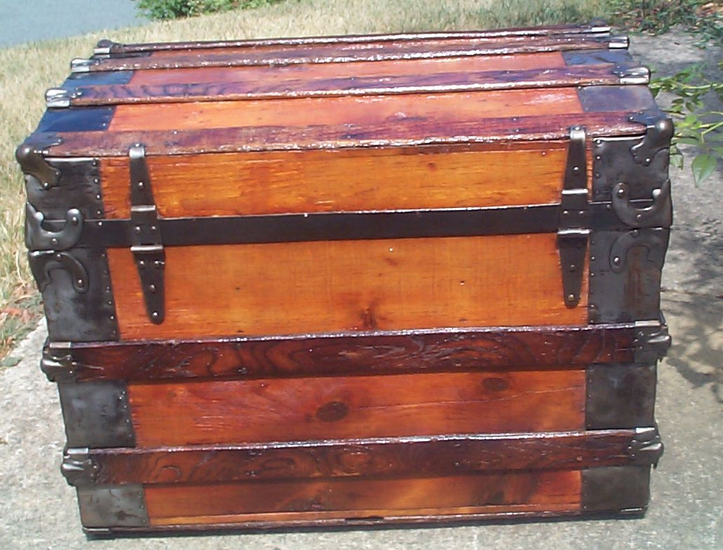 restored wood roll top antique trunk 860