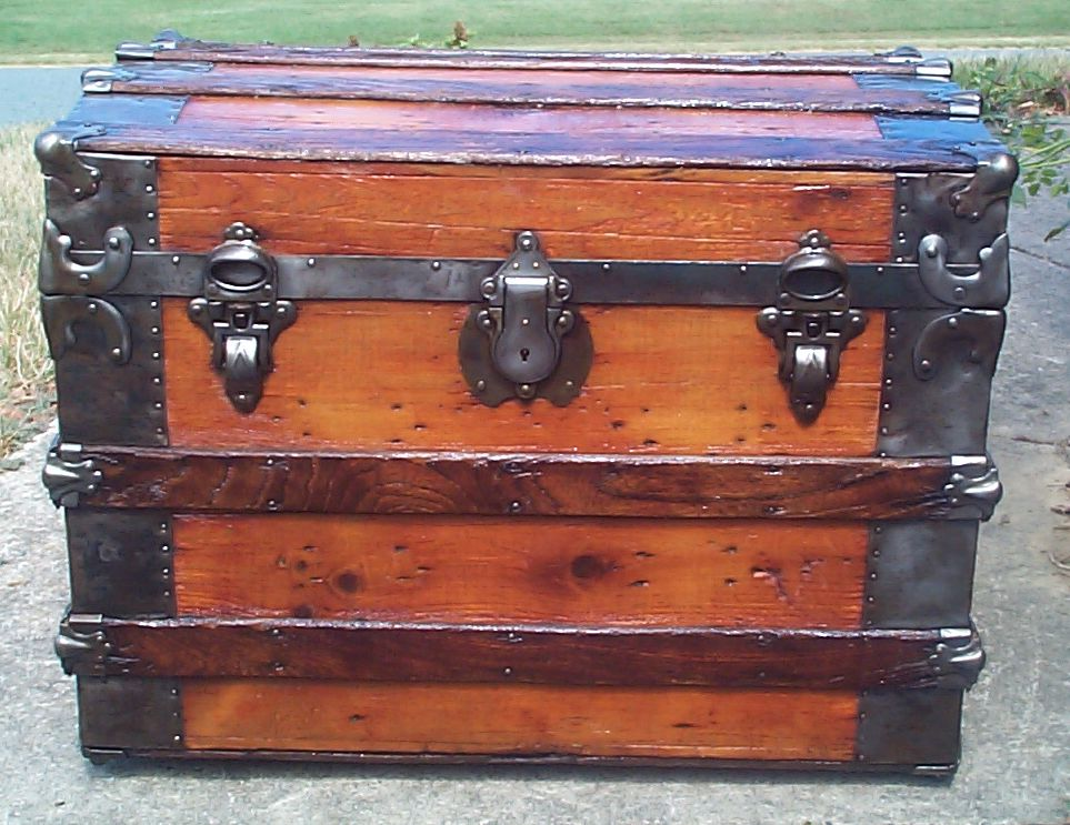 restored all wood roll top antique Steamer trunk for sale 860