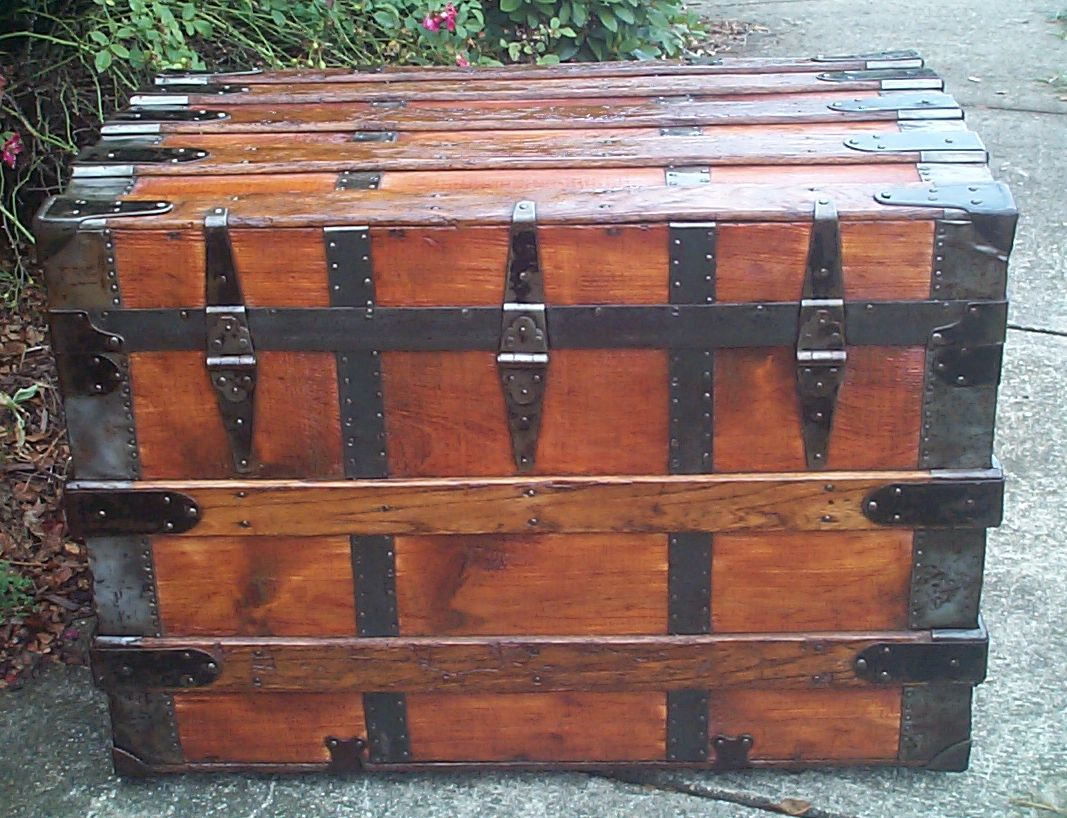 restored wood roll top antique steamer trunk 862