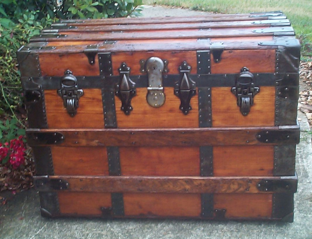 restored all wood roll top antique steamer trunk 862
