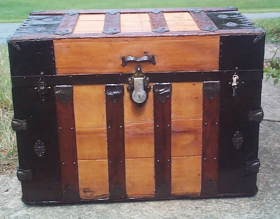 restored all wood flat top antique trunk for sale 864