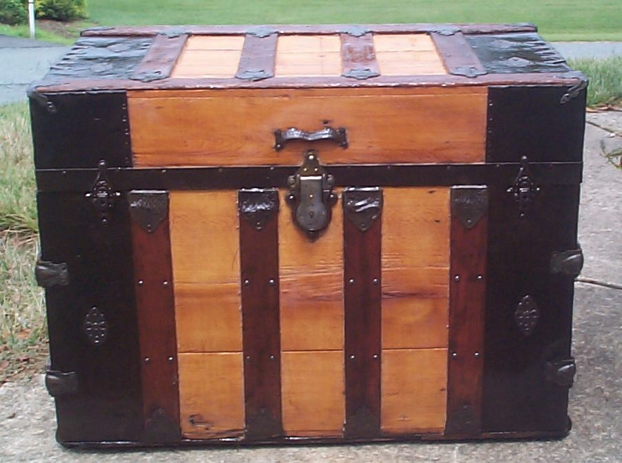 restored wood dome top antique steamer trunk 863