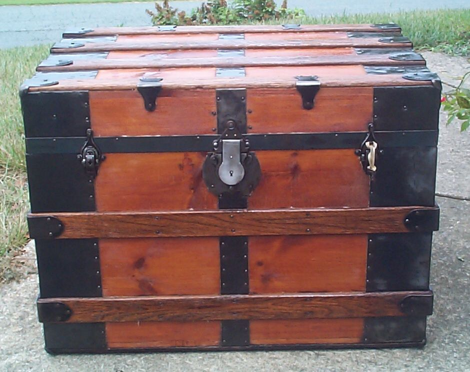 restored all wood flat top antique trunk for sale 865