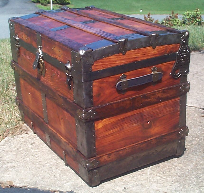 restored wood flat top wall saver antique steamer trunk 866