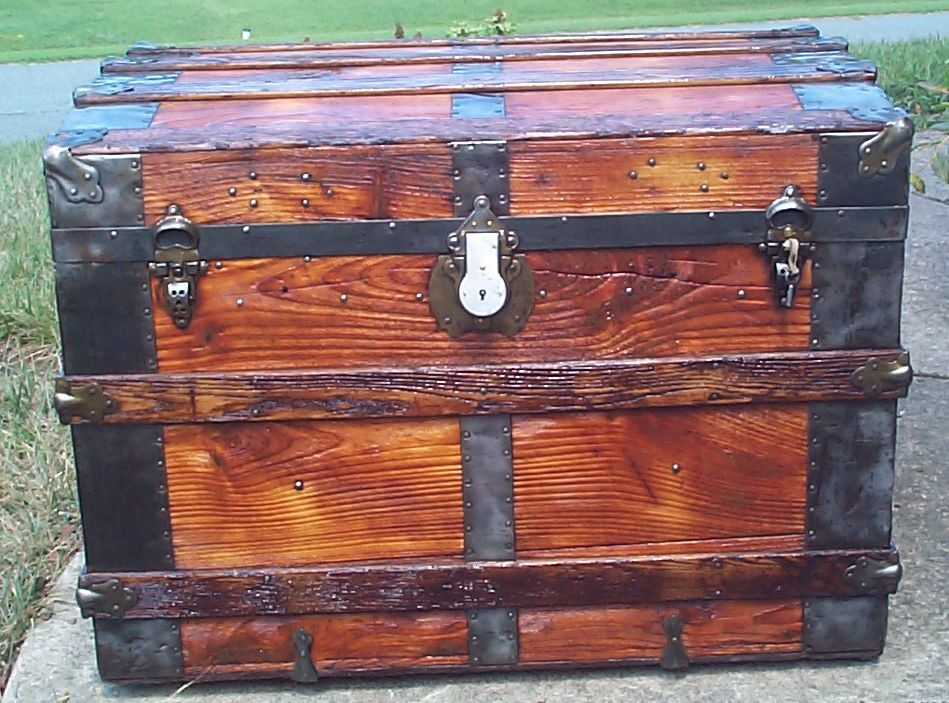 restored all wood flat top wall saver antique steamer trunk 866