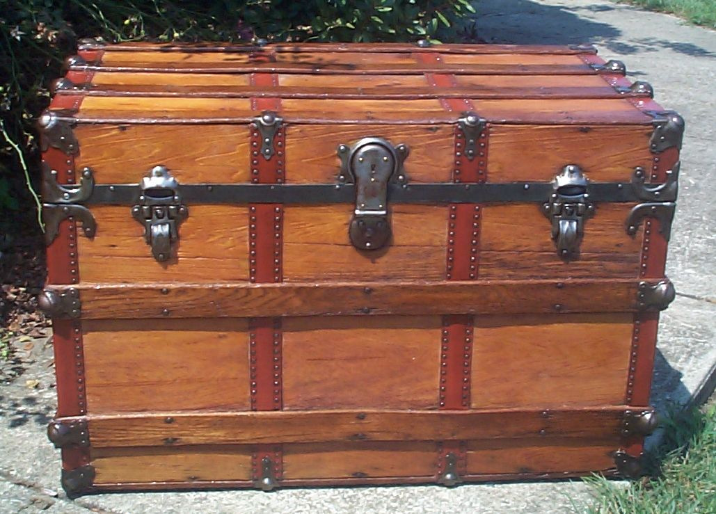 restored all wood flat top antique trunk for sale 869
