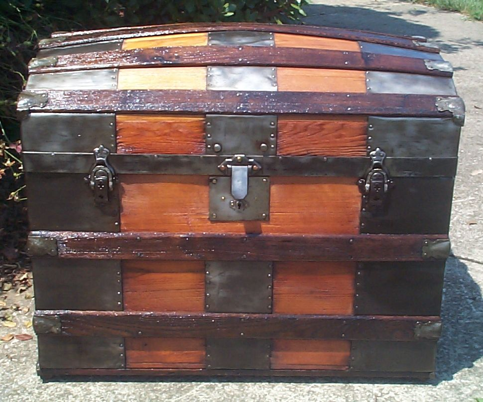 restored all wood dome top antique trunk for sale 870