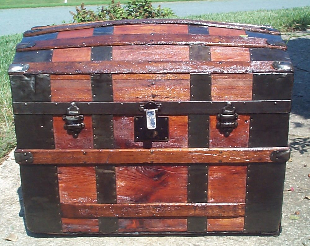 restored all wood dome top antique trunk for sale 873