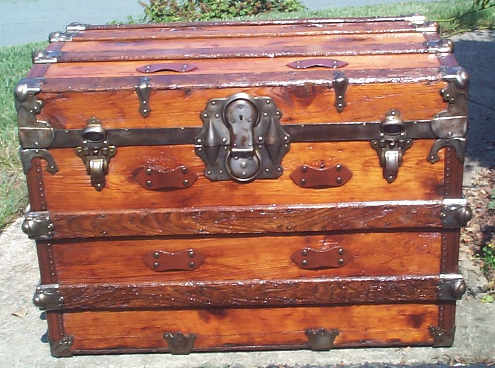 restored all wood dome top antique trunk for sale 874