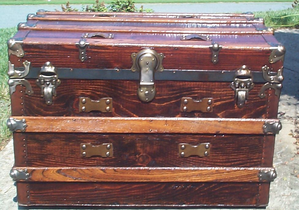 restored all wood dome top antique trunk for sale 875