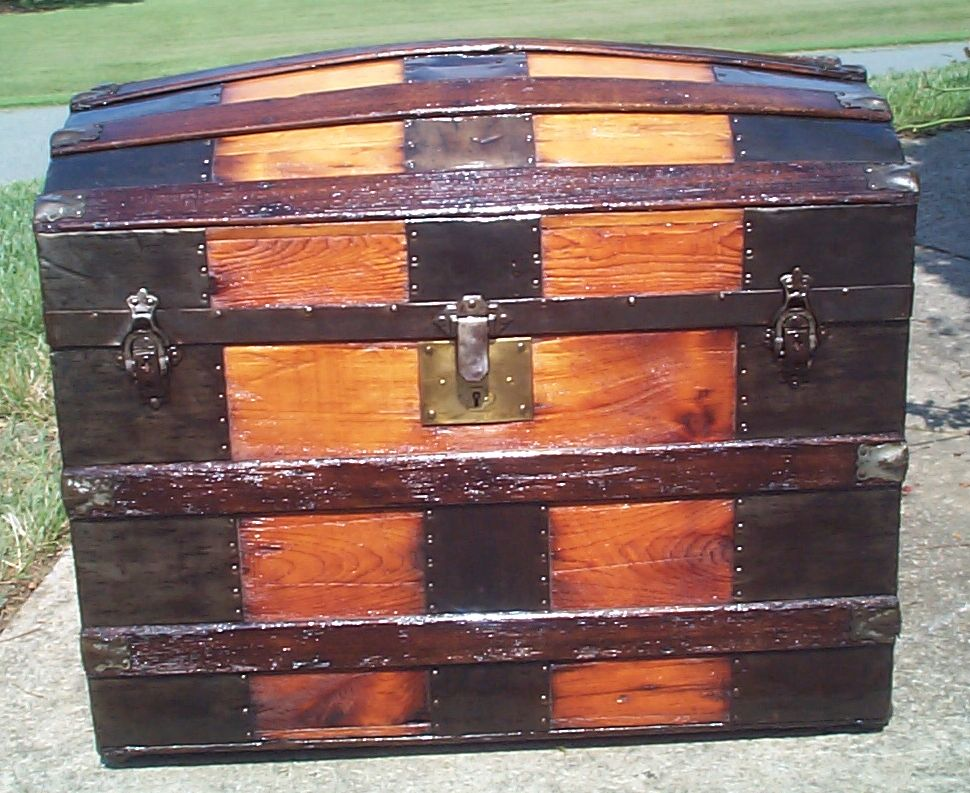 restored all wood dome top antique trunk for sale 876