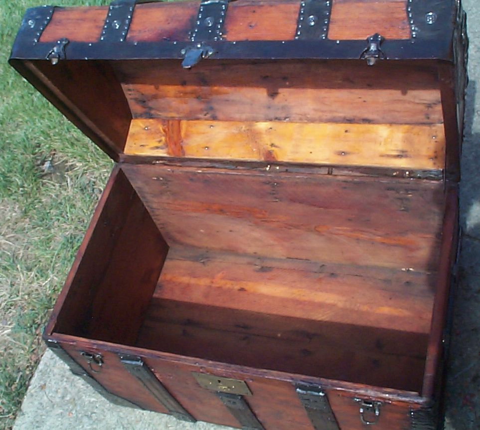 restored wood dome top antique trunk 877