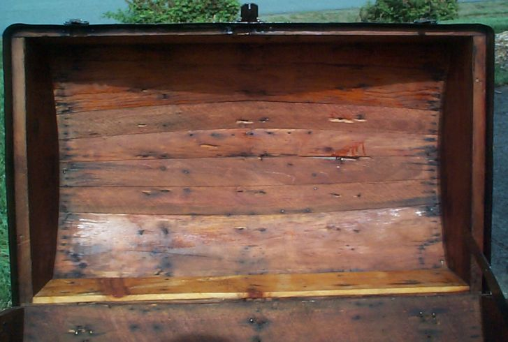 restored wood dome dome top antique trunk 877