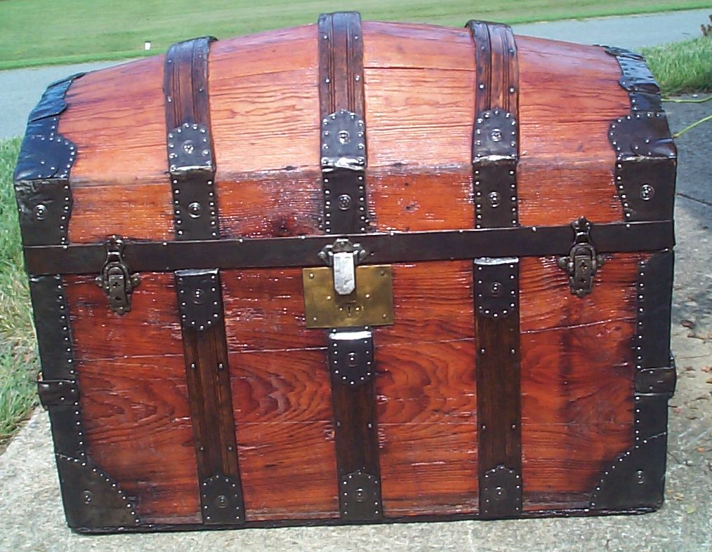 restored all wood dome top antique trunk 877