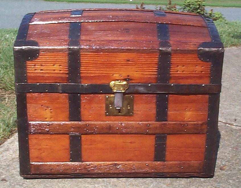 restored all wood roll top antique trunk for sale 878